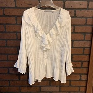 NY Collection Ivory Chiffon Top w/Flounced Sleeves